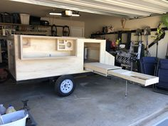 Ryan underway on his jumbo-sized Explorer Box style plywood camping trailer project. Like the double slide kitchen. Camping Trailer Diy, Camping Box, Off Road Camper Trailer, Jeep Camping, Camping Snacks, Trailer Build, Truck Camper, Camper Trailers, Utility Trailer Camper
