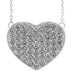 Matashi 18k White Gold Necklace Crystal Encrusted Heart Necklace (Heart Design Necklace), Size 16 Inch