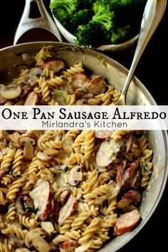 This one pan Sausage Alfredo is ready for dinner in less than 30 minutes. Full of meat and cheese it is a house favorite. Life is good when dinner is done fast in one pan. Use vegan sausage Pork Recipes, Pasta Recipes, Dinner Recipes, Cooking Recipes, Healthy Recipes, Dinner Ideas, Cheap Recipes, Family Recipes, Delicious Recipes
