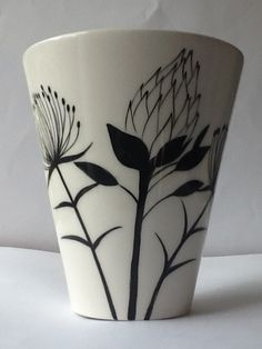 Protea flower vase Hand painted by Janet mimi Eddi Cape Town info@ medesign.co.za Ceramic Decor, Ceramic Pottery, Ceramic Art, Painted Pottery, Protea Flower, Flower Vases, Painted Vases, Hand Painted Ceramics, Ceramic Painting