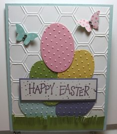 Easter card using up scraps of card stock and DSP. Honeycomb EF, Extra Large Oval punch and Bitty Butterfly punch by roxanne