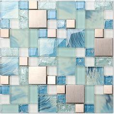Metallic Backsplash Tile Stainless Steel Metal Tiles Ceram and Blue Glass Mosaic Wall Decor MH10