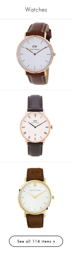 """""""Watches"""" by livuka ❤ liked on Polyvore featuring jewelry, watches, white, white watches, brown watches, quartz movement watches, quartz watches, leather-strap watches, stainless steel jewellery and stainless steel wrist watch"""