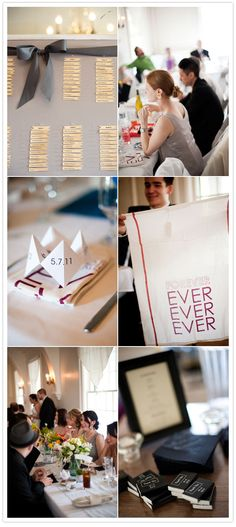 Whimsical Seattle Wedding - Tea towels printed for each guest as a napkin/take home gift.