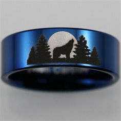 Tungsten Carbide Buck and forest scene ring. Jewelry Tattoo, Tungsten Carbide, Laser Engraving, The Great Outdoors, Dog Bowls, Band Rings, Tatoos, Cuff Bracelets, Wolf