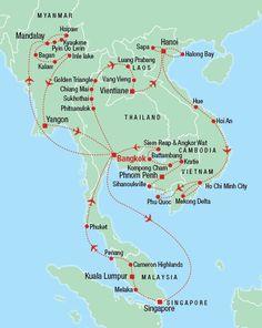 Thailand to Malaysia and route through Malaysia to Singapore ...