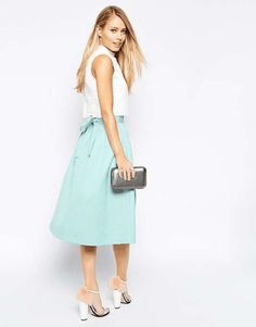 ASOS | High Waist Midi Skirt in Satin with Bow #Asos #satin #skirt