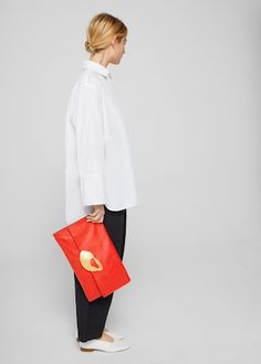 Buckle leather clutch -  Woman   MANGO Finland