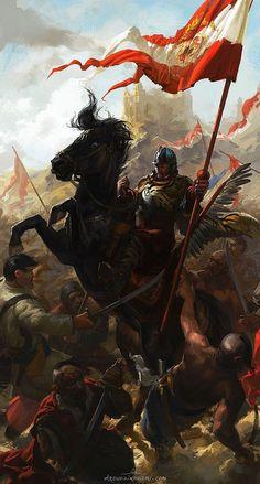 Polish Winged Hussar Bannerman, Piotr Arendzikowski | https://www.artstation.com/artwork/polish-winged-hussar-bannerman