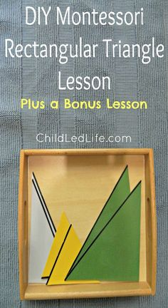 Use this DIY Montessori rectangular triangle lesson for a great lesson for your preschooler. Don& miss the bonus lessons for the younger sibling! Montessori Practical Life, Montessori Homeschool, Montessori Elementary, Preschool Curriculum, Montessori Toddler, Montessori Activities, Preschool Math, Homeschooling, Kids Phonics