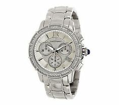 {@Judith Ripka Stainless Steel Chronograph Textured Watch with Diamonique}
