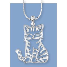 Sterling Silver Striped Kitty Pendant 24in
