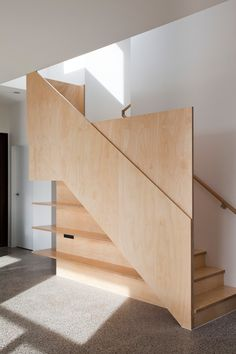 Pin By Chang Jasper On Stairs Prefab Homes Interior Wood Staircase, Stair Handrail, Wooden Stairs, Modern Staircase, Staircase Design, Staircases, Staircase Storage, Railings, Interior Stairs
