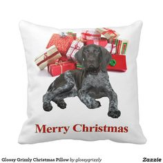 Glossy Grizzly Christmas Pillow