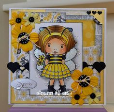 From our Design Team! Card by Pops Morfitt featuring Bumble Bee Marci and the Dies - String of Hearts Border :-)  Shop for our products here - shop.lalalandcrafts.com  Coloring details and more design team inspiration here - http://lalalandcrafts.blogspot.ie/2015/05/inspirational-monday-for-special-lady.html