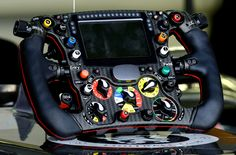 The steering wheel of the Sauber C33 Formula 1. Everything a driver might need to do, and every bit of information he might need to know, is literally at his fingers. Photo by: nph / Dieter Mathis/picture-alliance/dpa/AP Images