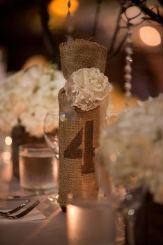 Burlap wrapped table number