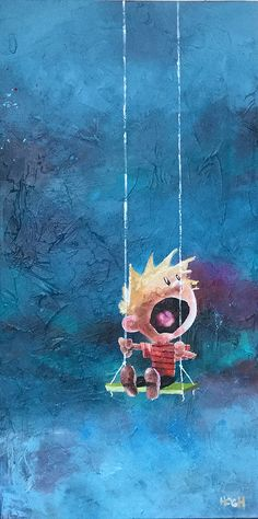 Halloooooo!, 50x100 cm., acrylics on canvas. Original painting of Calvin from Calvin & Hobbes by Watterson made by Svend Høgh.
