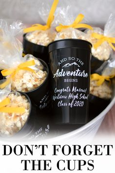 And So The Adventure Begin. These custom printed, jumbo 32 oz graduation stadium cups are the Big Gulps of party cups. Great for outdoor graduation parties and for holding popcorn and iced tea. An extra large cup for a larger than life celebration. Outdoor Graduation Parties, Graduation Party Planning, Graduation Party Favors, College Graduation Parties, Graduation Celebration, Graduation Decorations, Grad Parties, Outdoor Parties, Graduation Ideas