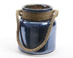 "Seaside Treasures Majolica Blue Glass Hurricane with Rope Handle 9.5"""""