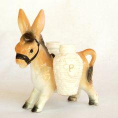 Vintage 50s Salt - Pepper Shakers // Glazed Ceramic Donkey Figurine with S&P…