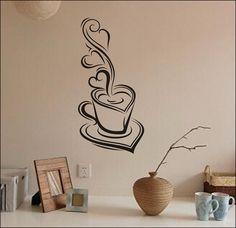 Wall Decal Vinyl Sticker DIY Art Warm Coffee Cups by HomeDecorC, $7.99