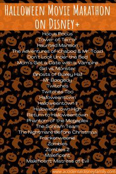 Halloween Bucket List, Halloween Movies List, Halloween Movie Night, Halloween Buckets, Theme Halloween, 31 Days Of Halloween, Holiday Movie, Disney Halloween, Holidays Halloween