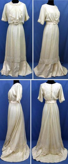 Wedding  dress ca. 1912. Ivory silk with sheer top layer, lace insert, and belt. Dress with kimono sleeves and rounded collar; belt with bow in front. Bottom layer of silk is longer in back, creating slight train. Lined with silk. Dress hooks down back. Lace over-blouse of ivory net with jabot trimmed with Irish lace, with shell buttons in back. rewscountry/ebay