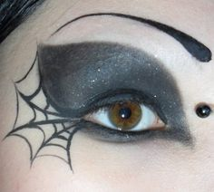 "spider web makeup ... hmmm, I'm thinking this will go great with my ""witch's"" costume this year :)"