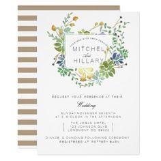 Succulent Garden | Floral Watercolor Wedding Card - tap to personalize and get yours #wedding #invitation #weddingideas #weddinginspiration  #flower #floral #botanical #garden #outdoor #nature #romantic #editable