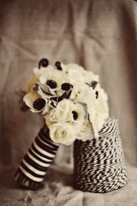 Black and white anemone wedding bouquet