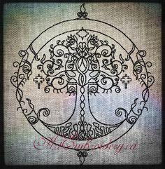"""Arbre celtique - Machine broderie Redwork Design pour cerceau 5 x 7"""""""