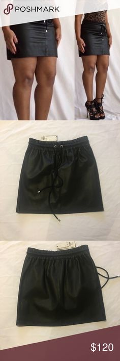 Black Leather Skirt Black Leather Skirt With elastic waist and tie Brand new with tags Size U.S 6 U.k 10 Skirts