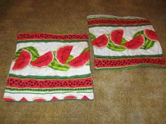 Set of 2 handmade quilted pot holders Fruit Watermelon Melon