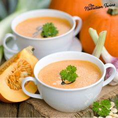 Pumpkin Soup | Warm & Satisfying | Great Appetizer | Only 65 Calories, feels rich & creamy, but is Guilt-free | For MORE RECIPES, fitness & nutrition tips please SIGN UP for our FREE NEWSLETTER www.NutritionTwins.com
