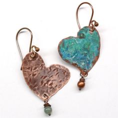 Mismatched Rustic Heart Shaped Earrings E748 by SunStones on Etsy