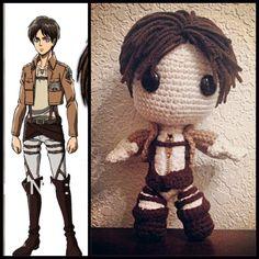 Eren Jaeger, Attack on Titan  Little Big Planet Sack Boy. Crochet. Amigurumi.