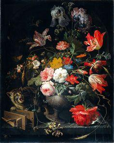 Abraham Mignon (1640–1679) Натюрморт с цветами, кошкой и мышеловкой. Bouquet with cat and mousetrap circa 1670 oil on canvas Rijksmuseum Amsterdam