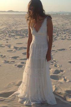 deep v neck high ruched a-line lace boho wedding dress