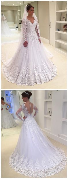 Bohoprom shining beaded appliqued white a-line wedding dresses, ivory wedding dresses, long sleeves wedding dresses, romantic wedding dresses, ivory wedding dresses, v-neck wedding dresses, modest wedding dresses, wedding dresses tulle, elegant wedding dresses, wedding dresses 2018, princess wedding dresses, #bridaldresses #weddingdresses #longsleeves #beadedappliqued #a-line #2018 #princess #tulle #illusion #bohoprom