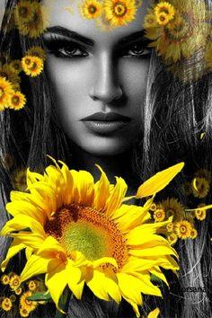 Девушка с красивыми глазами на фоне подсолнухов, Орсана