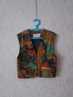 Vintage Women's Vest Multicolored Waistcoat  by TinutesCreations