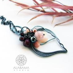 Topolowe listki - srebrny wisior wire wrapping / Alabama / Biżuteria / Wisiory