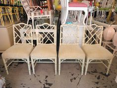 Pair of FAUX BAMBOO Chippendale Chairs