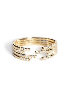 Jennie Kwon Designs - Stacked Diamond Cuff Ring   BONA DRAG
