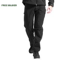 FREE SOLDIER Outdoor Sport Tactical Climbing Hiking Male Pants Softshell Fleece Fabric,Water-ResistantWindproof Pants For Men //Price: $61.58 & FREE Shipping //     #survival    #neverstopexploring #amazing