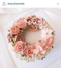 Korea 3D flower buttercream cake: