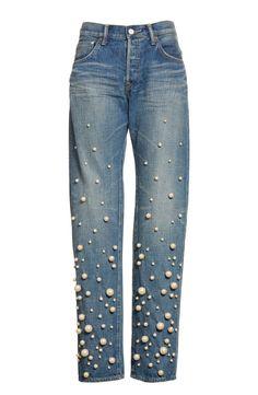 Main Image - Tu es mon TRÉSOR Snow Imitation Pearl Embellished Jeans