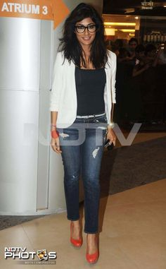 The stars are ready for Dabangg 2, are you? Geek chic - Chitrangada Singh wore a white Zara blazer with denims and orange pumps