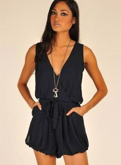 Blue Jump Suits/Rompers - Navy Sleeveless Romper with Tie | UsTrendy